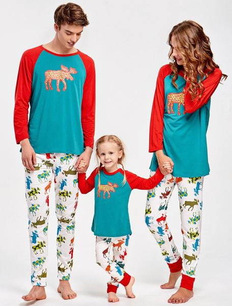 Children's Christmas Family Pajamas Kids Blue Printed Top And Pants 2 Piece Set