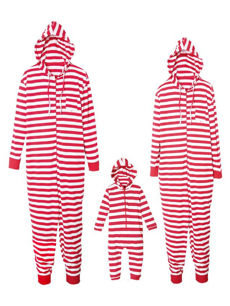 Women's Family Pajamas Matching Christmas Mother Red Striped Hooded Jumpsuits