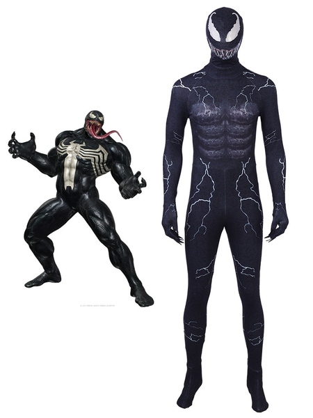 Image of Venom Eddie Brock Halloween Cosplay Costume Zentai Suit With Hood