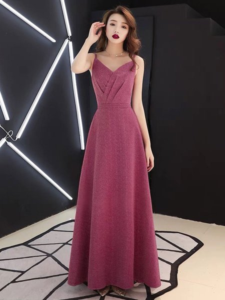 Prom Dresses Long Straps Maroon Pleated Maxi Formal Evening Dress