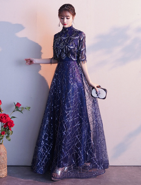 Image of Evening Dresses Sequin Half Sleeve Lace High Collar Maxi Formal Gowns