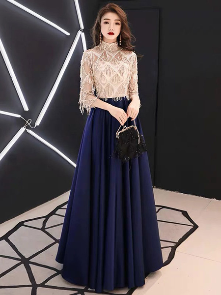 Image of Evening Dresses Half Sleeve Sequin Tassels High Collar Maxi Formal Gowns