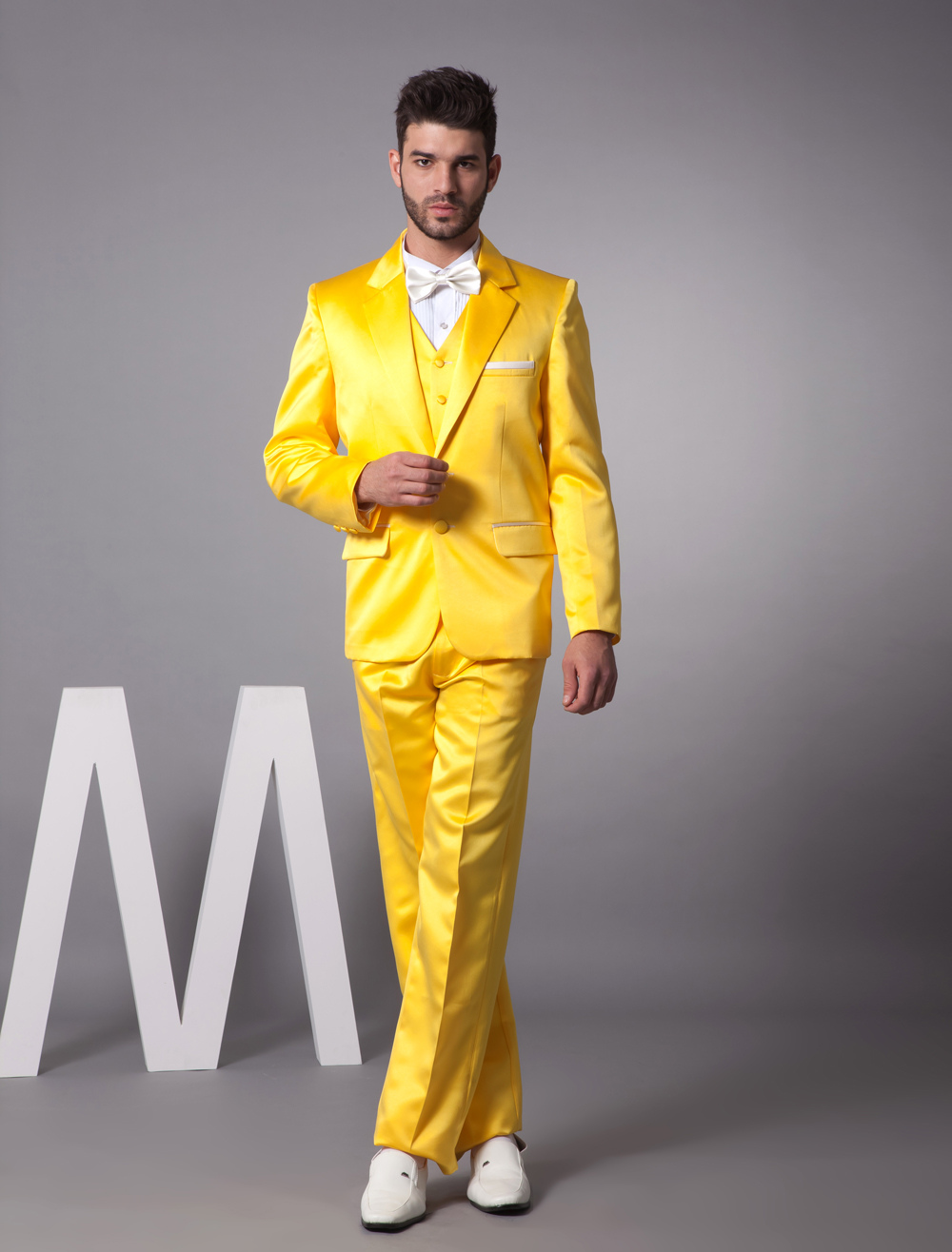 Wedding Wedding Tuxedo yellow single breasted button lapel worsted groom wedding tuxedo milanoo com
