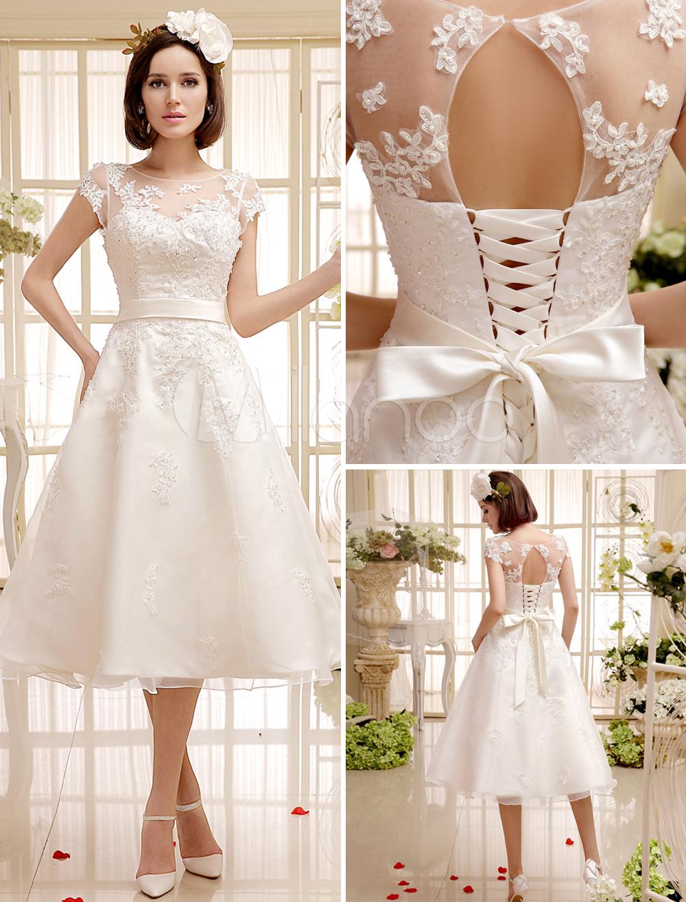 robe de marie a ligne ivoire avec ceinture longueur mollet milanoo - Milanoo Robe De Soiree Pour Mariage