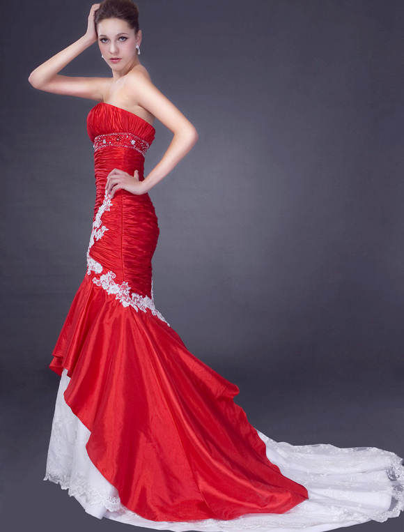 Robe mariée magnifique sirène en taffetas rouge avec applique ...