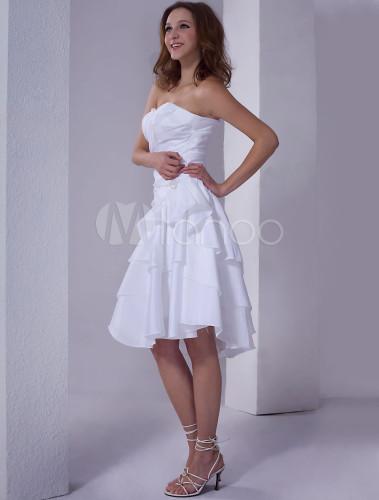 Weißes kurzes Brautkleid aus Taft mit Herz-Ausschnitt - Milanoo.com