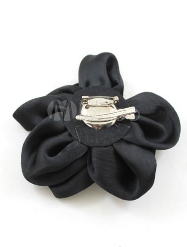 Black Imitation Pearl Cloth Flower Wedding Bridal Brooch