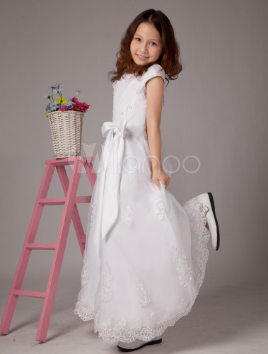 A Line White Jewel Neck Bow Ankle Length First Communion