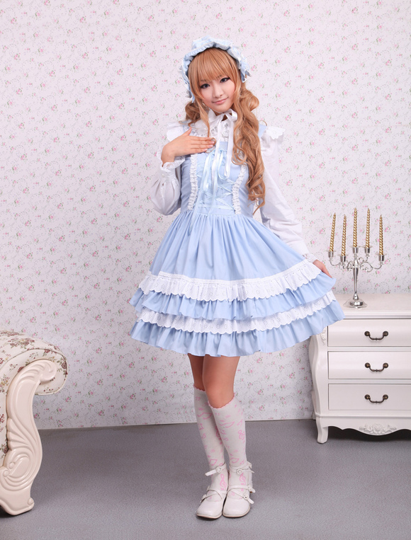 Cotton blue lace front ties sweet lolita dress milanoo com