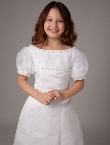 White Short Puff Sleeves A Line Satin First Communion Dress Milanoo Com