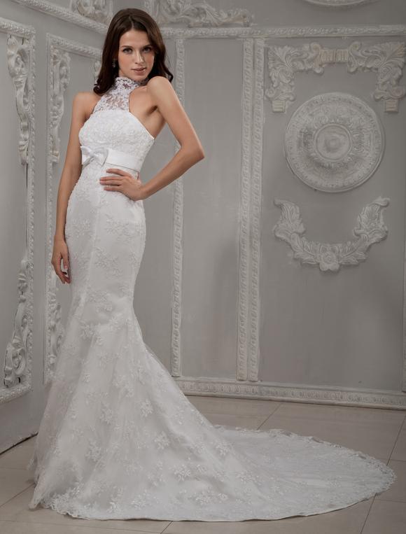 White Halter Neck Lace Bridal Mermaid Trumpet Wedding