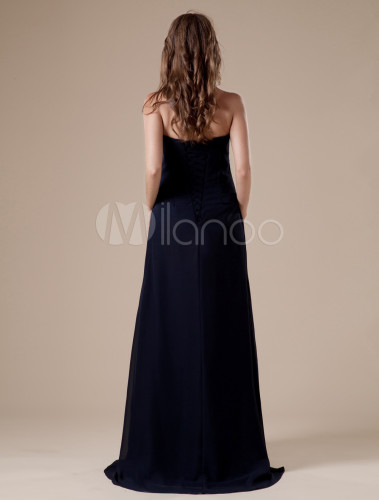 A Line Dark Navy Floor Length Evening Dress With Strapless