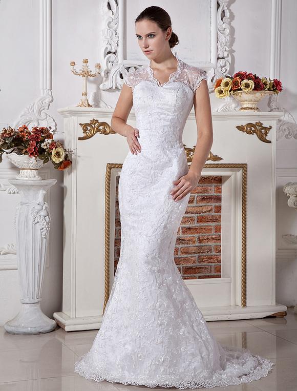 Lace slim white halter sheath satin wedding gown for Slim white wedding dresses