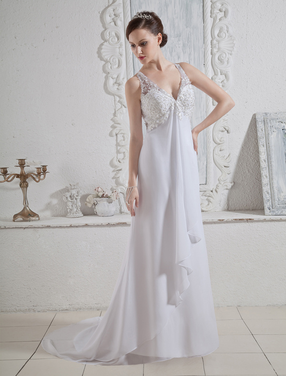 robe de mari e blanche licou de v col et de ceinture