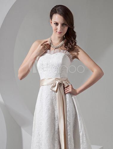 Ivory with Champagne Sash Wedding Dress