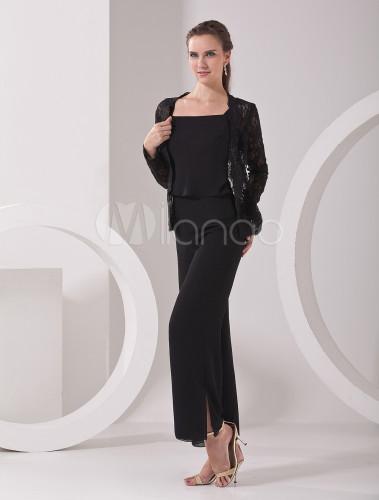 Elegant Black Chiffon Mother Of The Bride Pant Suits