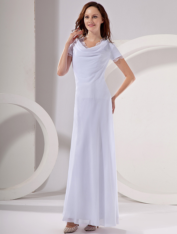White Chiffon V-Neck Short Sleeve Ladies Evening Dress - Milanoo.com