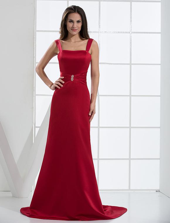 Abendkleid aus satin mit schleppe in burgunderrot - Milanoo abendkleider ...