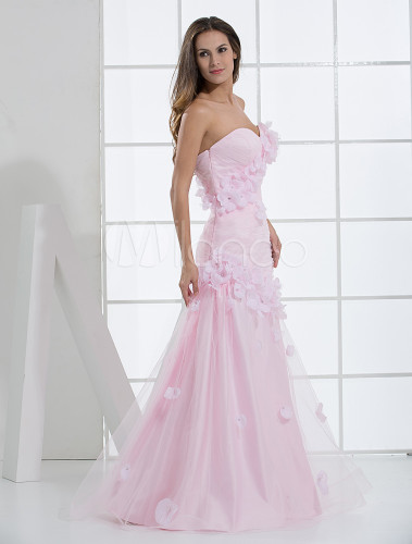 Pink Rococo Sweetheart A-line Flowers Satin Wedding Dress - Milanoo ...