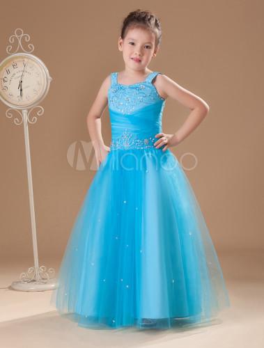 Vestidos de fiesta para ninas azul turquesa