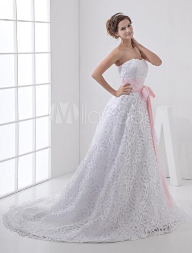 Linie-Hochzeitskleid aus Satin und Spitze mit rosa Gürtel und ...