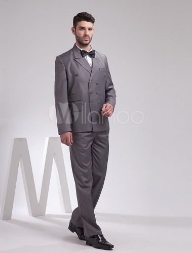 Gray Double Breasted Men's Wedding Suit - Milanoo.com