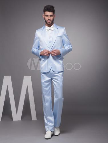 romantischer br utigam anzug aus satin in blau. Black Bedroom Furniture Sets. Home Design Ideas