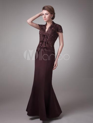 robe pour mère de la mariée de ligne-A couleur chocolat en ...