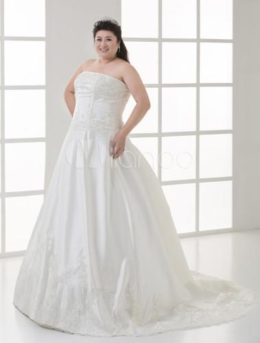 Robe de mariée blanche de dentelle crème et de taille plus en satin ...