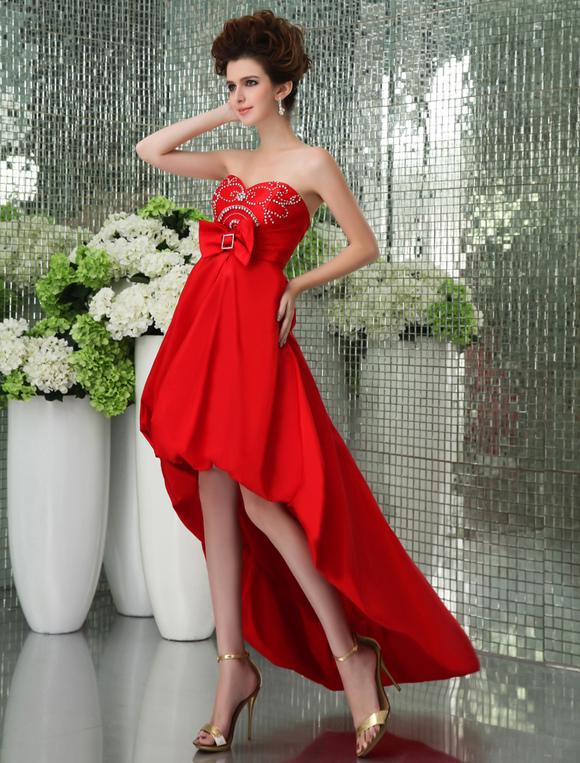 Robe bustier asymetrique rouge