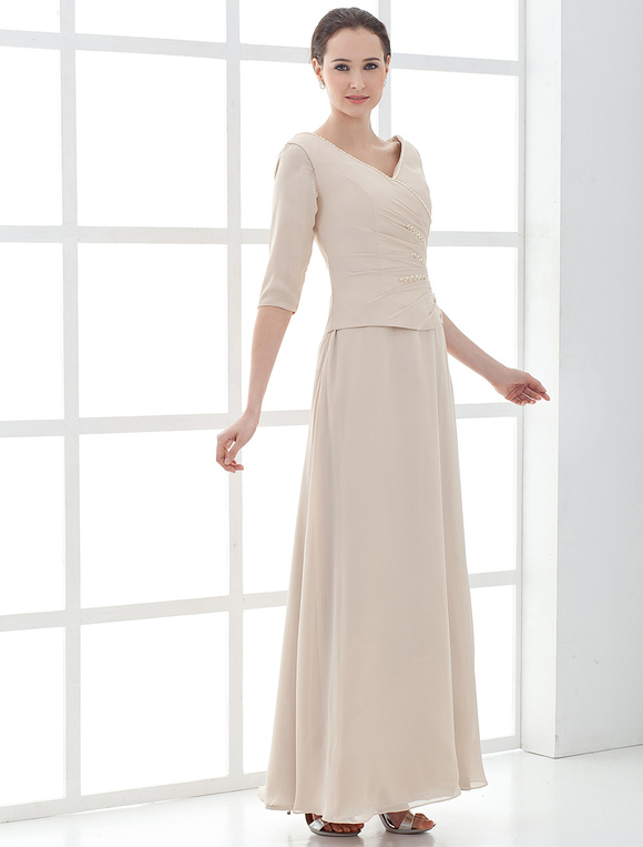 Half-sleeves-v-neck-satin-mother-of-bride-and-groom-dress-26246-2