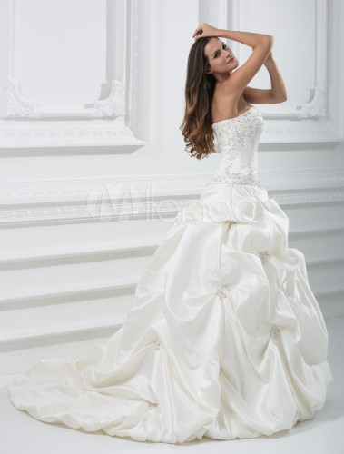 Formal Ball Gown Sweetheart Strapless Beaded Satin Wedding Dress
