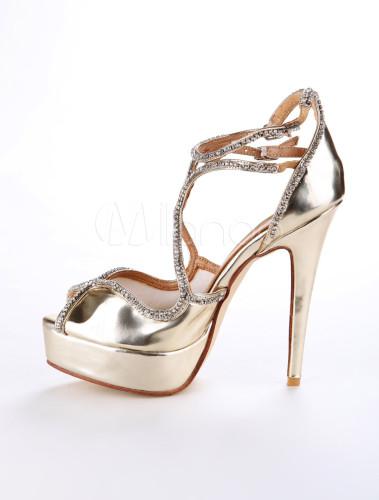 Gold Criss-Cross Nubuck Metallic Woman's High Heels - Milanoo.com