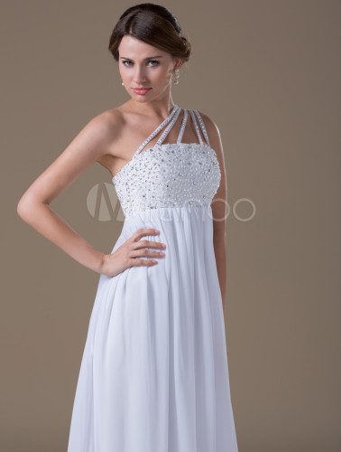 Elegant A-line One Shoulder Beading Chiffon Maternity Wedding ...