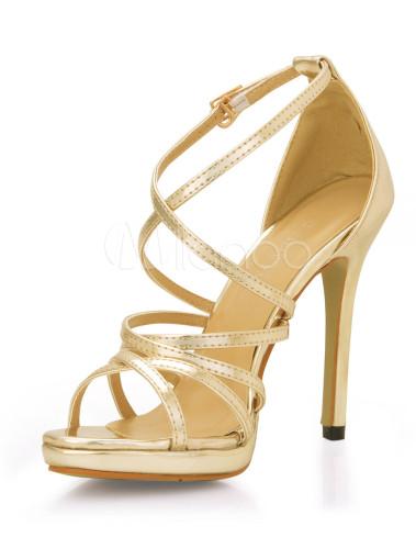 goldene damen sandaletten aus pu mit riemchen. Black Bedroom Furniture Sets. Home Design Ideas