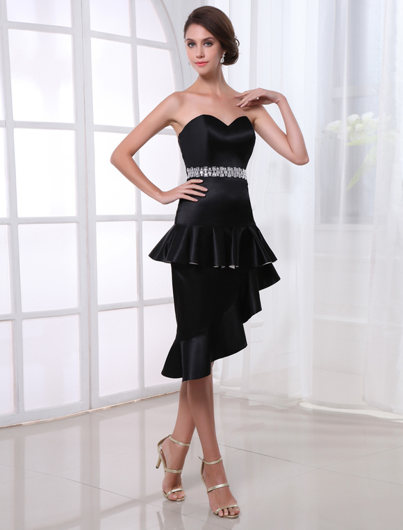 Sexy Black Crystal Sweetheart Neck Asymmetrical Women&39s Cocktail ...