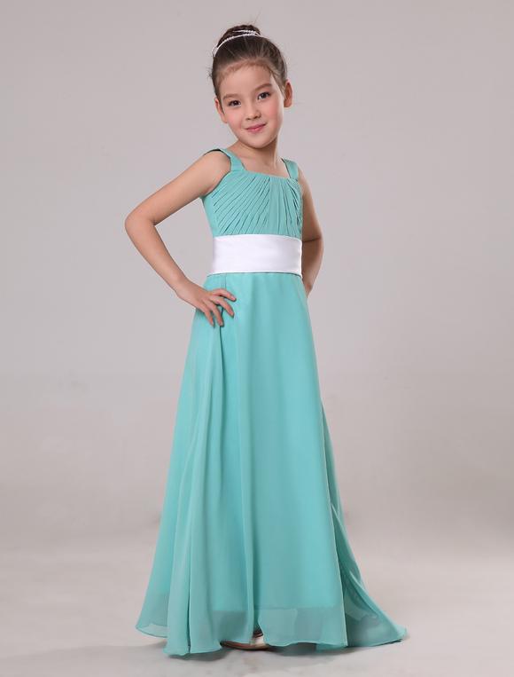 Chiffon Floor Length Junior Bridesmaid Dress - Milanoo.com