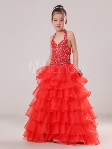 Boule cort ge robe d 39 enfant rouge en tulle licou for Don de robe de mariage militaire