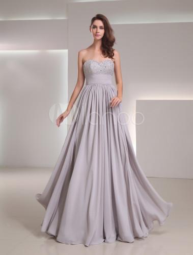 Chiffon Sequin Sweetheart Neck Evening Dress - Milanoo.com