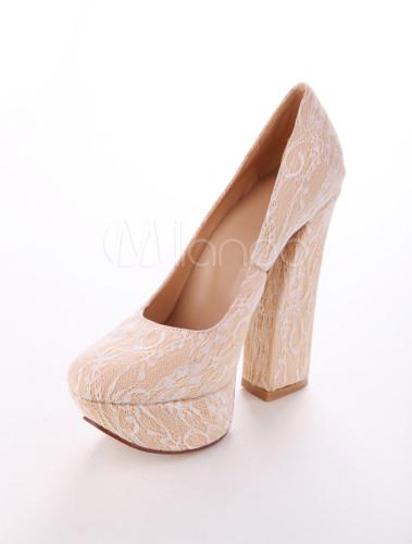 Sweet Beige Lace Upper Chunky Heel Pumps - Milanoo.com