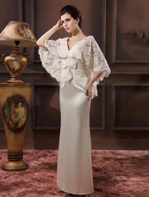 robe de soir e ivoire avec ceinture de col v longueur plancher milanoo. Black Bedroom Furniture Sets. Home Design Ideas