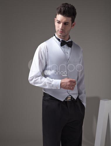 Gilet Uomo Matrimonio : Gilet da uomo argento personalizzato elegante formale in