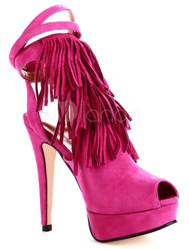 Fashion Pink Sheepskin Suede Fringe Ankle Strap Womens