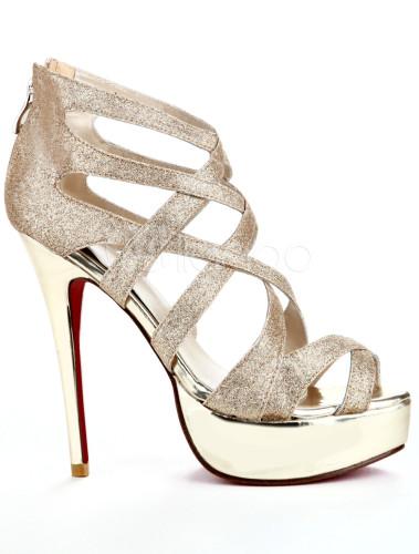 goldene damen pumps mit plateaus und high heels. Black Bedroom Furniture Sets. Home Design Ideas