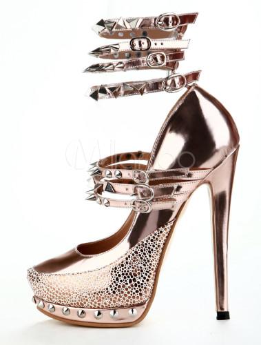 Unique Round Toe Metallic Patent Leather Women's High Heels ...