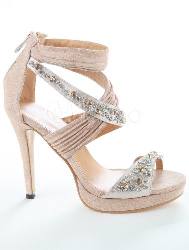 elegante damen sandaletten aus pu mit fesselriemchen und. Black Bedroom Furniture Sets. Home Design Ideas