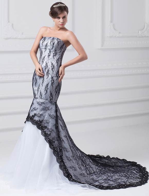 black mermaid wedding gown strapless lace wedding dress