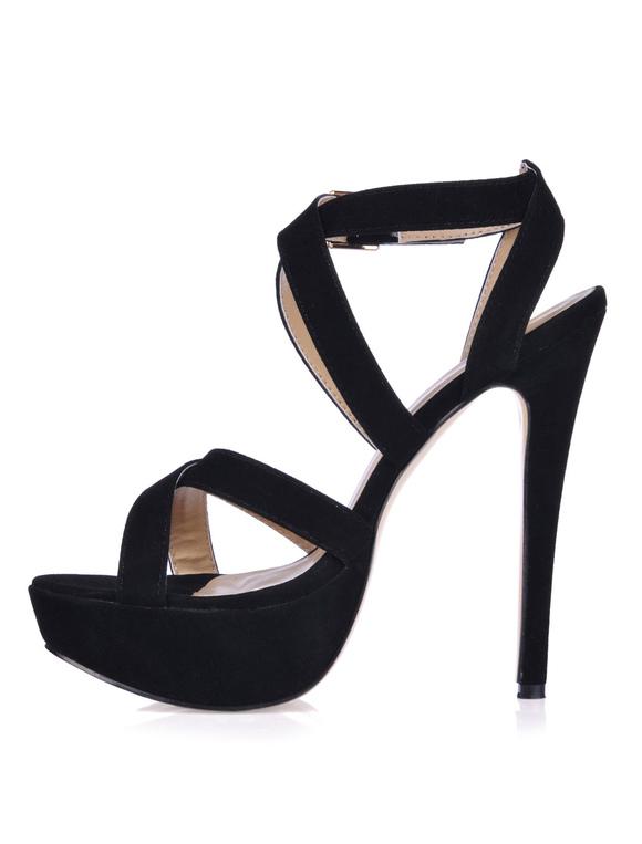 sexy schwarze high heels aus suedeleder mit kreuzenden. Black Bedroom Furniture Sets. Home Design Ideas