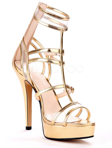 Sexy Gold Metallic Stiletto Heel Fashion Gladiator Sandals
