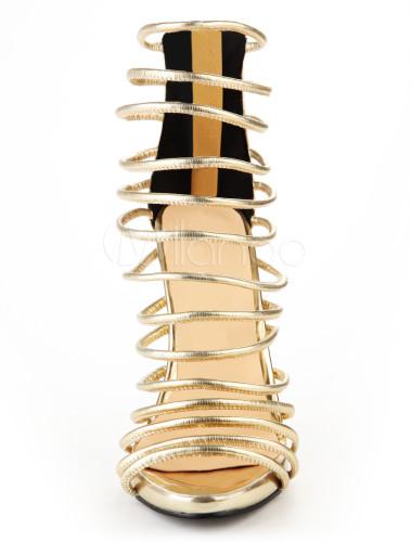 Sexy Gold PU Leather Stiletto Heel Women's Gladiator Sandals ...